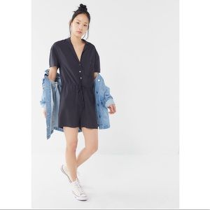 UO Dad Collared Button-Front Romper